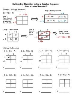 Multiplying Binomials Instructional Practice using a Graphic Organizer