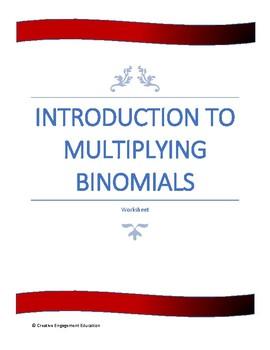 Multiplying Binomials - Introduction Worksheet