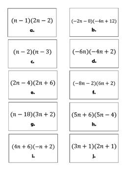 Multiplying Binomials Matching Activity