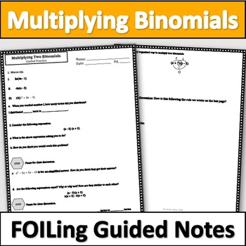 Multiplying Binomials Notes - Foiling Notes
