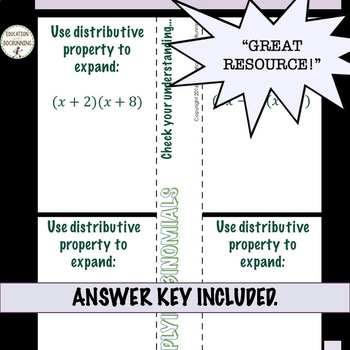 Multiplying Binomials Interactive Notebook FOIL and Distributive Property