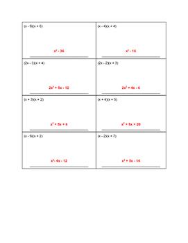Multiplying Binomials  - Partner Activity - FOIL, PUNNETT SQUARES