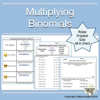 Multiplying Binomials, Algebra Worksheets