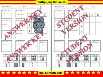 Multiplying Binomials Puzzle Activity Sheet (2 Pages for differentiation)