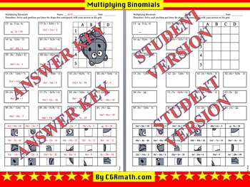 Multiplying Binomials Puzzle Activity Sheet (2 Pages for d