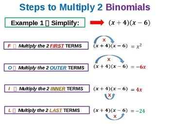 Multiplying Binomials Summary