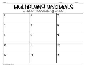 Multiplying Binomials (Task Cards)