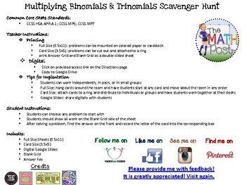 Multiplying Binomials & Trinomials Scavenger Hunt