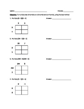 Multiplying Binomials Using Box Method (Worksheet or Quiz)