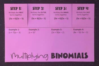 Multiplying Binomials Using FOIL (Foldable)