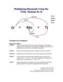 Multiplying Binomials Using FOIL, Pt. II Lesson Plan