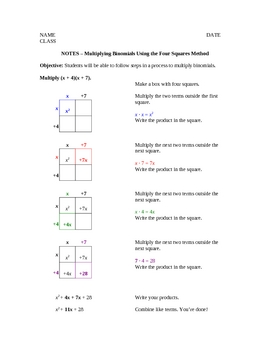 Multiplying Binomials Using the Distributive (FOIL) and Box Methods