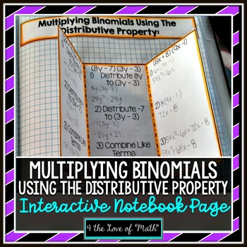 Multiplying Binomials Using the Distributive Property INB Page