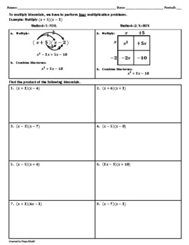 Multiplying Binomials Worksheet
