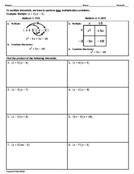 Multiply Binomials Worksheet Teaching Resources | Teachers Pay Teachers