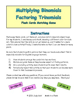 Multiplying Binomials and Factoring Trinomials Flash Cards Matching Game
