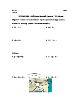 Multiplying Binomials and Factoring Trinomials Unit Plan