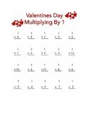Multiplying By 1 Valentines Worksheet