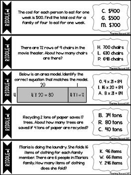 Multiplying By One-Digit Numbers RIDDLES