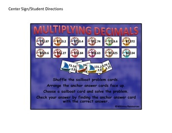 Multiplying Decimal Domino Math Center Nautical