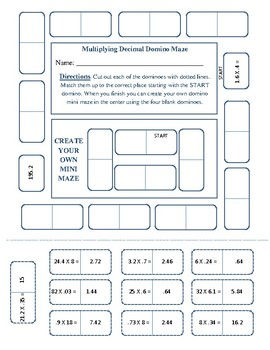 Multiplying Decimal Domino Maze