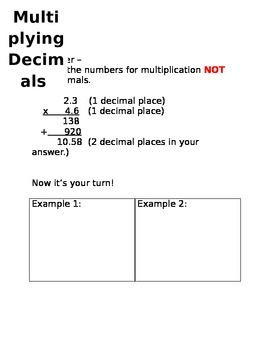 Multiplying Decimal Notes