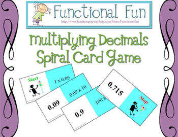 Multiplying Decimals Spiral Card Game