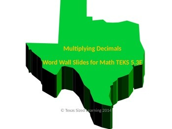 New Math TEKS 5.3E Multiplying Decimals Vocabulary and Word Wall Cards