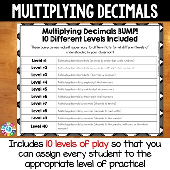 Multiplying Decimals Games: 10 Multi-Level Bump Games for Decimal Multiplication