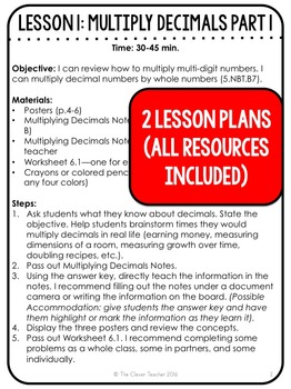 Multiplying Decimals - Lesson Plans, Task Cards, and Quiz