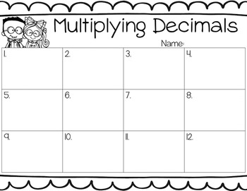 Multiplying Decimals by a Whole Number Task Cards