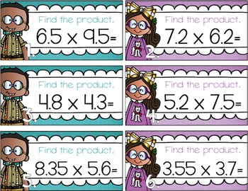 Multiplying Two Decimals Task Cards for Centers, Review, Scoot, & Test Prep