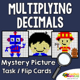 Multiplying Decimals Coloring Worksheets Activity, Mystery Picture Sheets & Card