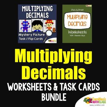Multiplication of Decimal, Multiplication Task Cards and Worksheets