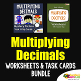 Multiplying Decimals Activity Decimal Multiplication Task Cards Worksheet Bundle