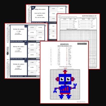 Multiplying Decimals Activity Decimal Multiplication Task Cards Worksheet Bundle