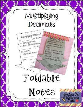 Multiplying Decimals Foldable