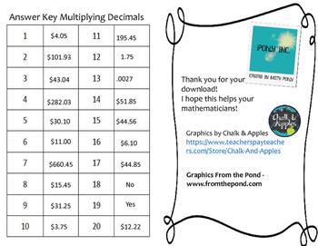 Multiplying Decimals 5.3E TEKS Task Cards