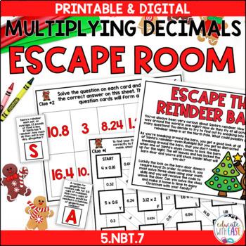 Multiplying Decimals 5.NBT.7 CHRISTMAS ESCAPE ROOM