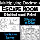 Multiplying Decimals Activity: Escape Room Math 5th 6th 7th Grade