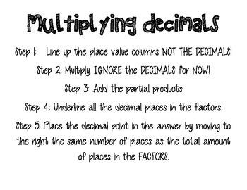 Multiplying Decimals Anchor Chart