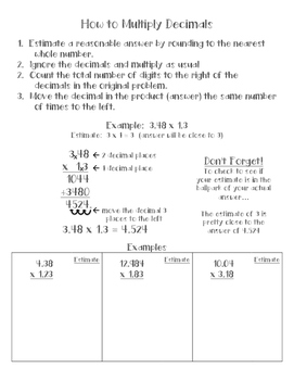 Multiplying Decimals Anchor Chart/Math Notebook Entry