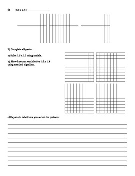 Multiplying Decimals Assessment (Quiz)