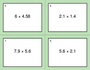 Multiplying Decimals BINGO and Task Cards