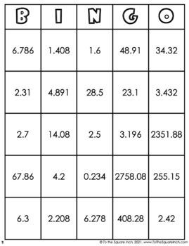 Multiplying Decimals Bingo