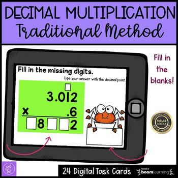 Multiplying Decimals Boom Cards Halloween Themed