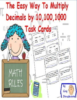 Common  Core-Multiplying Numbers By 10,100,1000 Made Easy Task Cards