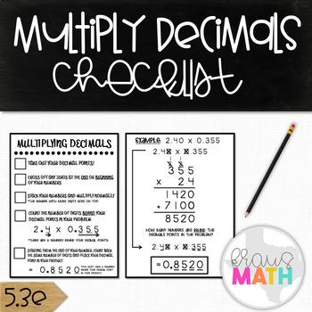 Multiplying Decimals CHECKLIST! (Grades 4, 5, 6 & 7)