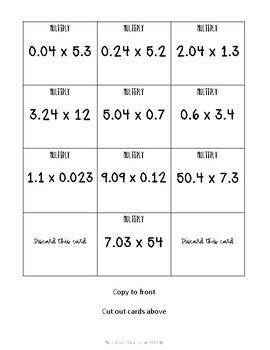 Multiplying Decimals Card Match Up