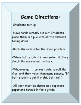 Multiplying Decimals Cards and Game